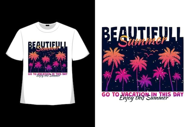 아름다운 여름 휴가의 티셔츠 디자인은 복고 스타일의 손바닥을 즐길 수