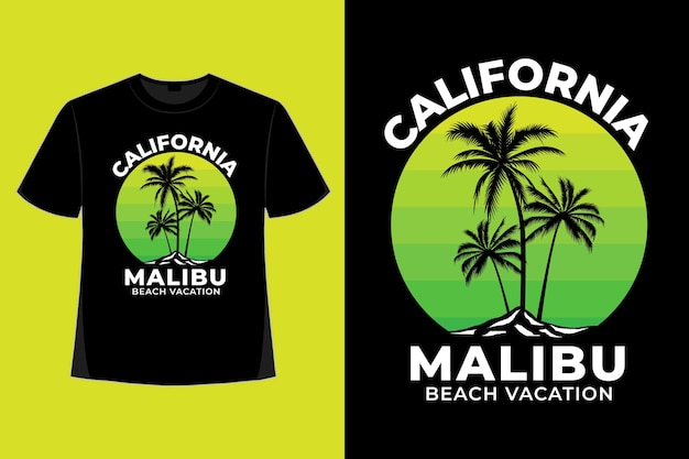 Дизайн футболки калифорнии малибу пляжный отдых в стиле ретро винтаж иллюстрация