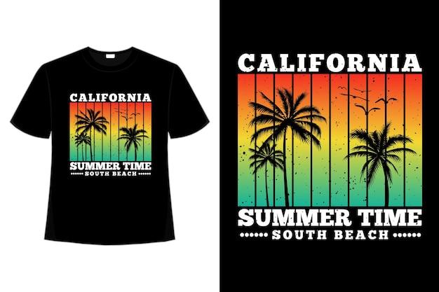 カリフォルニアのサマータイムのサウスビーチの夕日の色をレトロなスタイルでデザインしたtシャツ