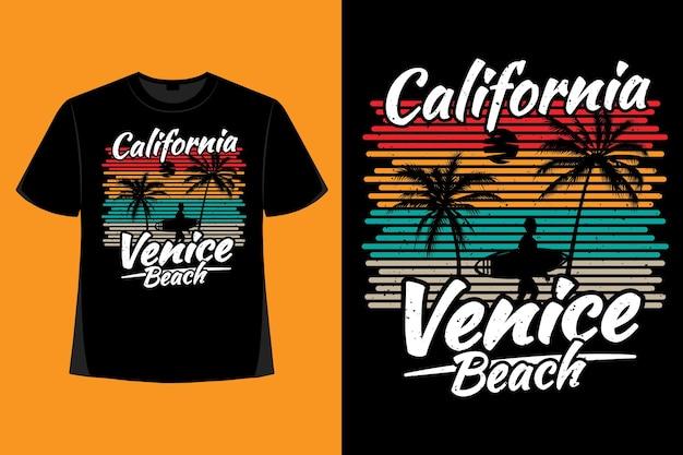캘리포니아 베니스 비치 서핑 타이포그래피 복고풍 빈티지 일러스트레이션의 티셔츠 디자인