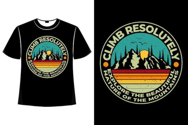 登山自然松レトロのtシャツデザイン