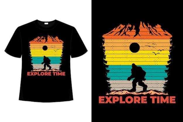 Дизайн футболки изучайте время, сосна, гора, ретро, винтажный стиль, иллюстрация