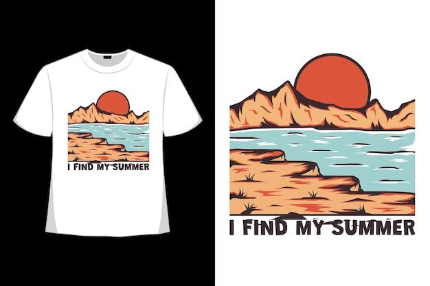 복고풍 스타일로 그려진 여름 해변 열대 손 찾기의 티셔츠 디자인
