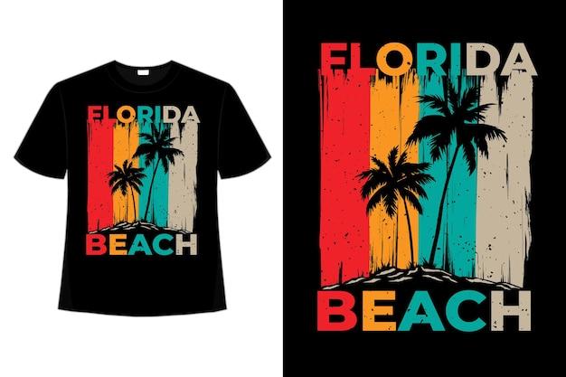플로리다 비치 아일랜드 브러시 스타일의 복고풍 빈티지 일러스트의 티셔츠 디자인