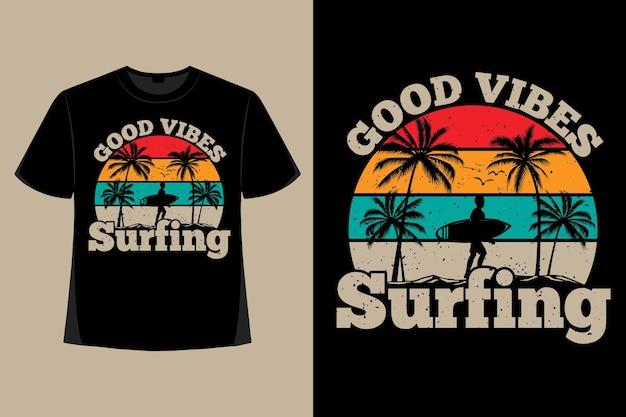 良い雰囲気のサーフィンビーチレトロヴィンテージイラストのtシャツデザイン