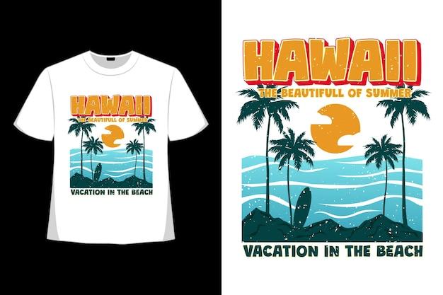 Дизайн футболки гавайских летних каникул, пляж, рисованный стиль