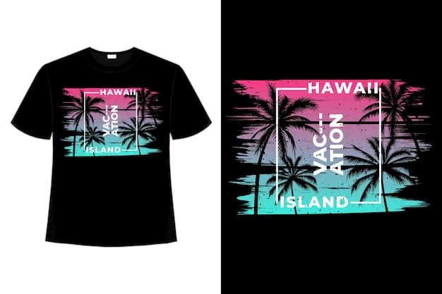 하와이 휴가 섬 브러쉬 스타일의 복고풍 빈티지 일러스트레이션의 티셔츠 디자인
