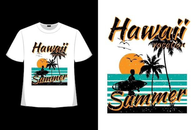 복고 스타일 하와이 휴가 여름 해변 서핑의 티셔츠 디자인