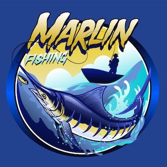 Дизайн футболки марлина на море