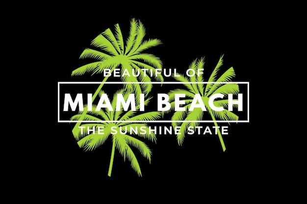 マイアミビーチサンシャインステートパームレトロヴィンテージイラストのtシャツデザイン