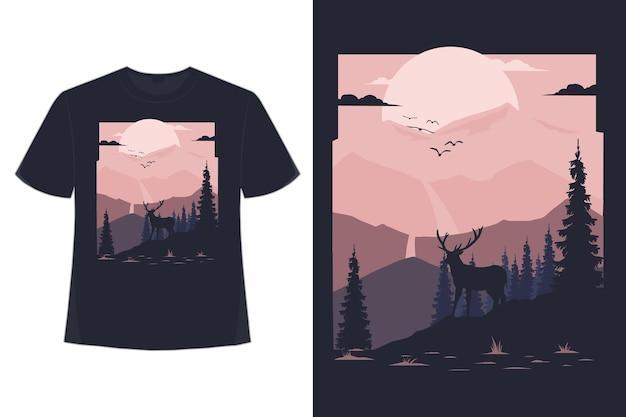 산 사슴 소나무 평면 스타일 복고풍 빈티지 일러스트의 티셔츠 디자인