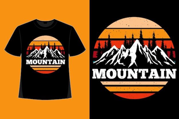 山の自然の松風レトロヴィンテージイラストのtシャツデザイン