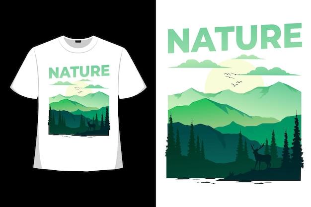 자연 모험 사슴 여름 산 빈티지 일러스트의 티셔츠 디자인