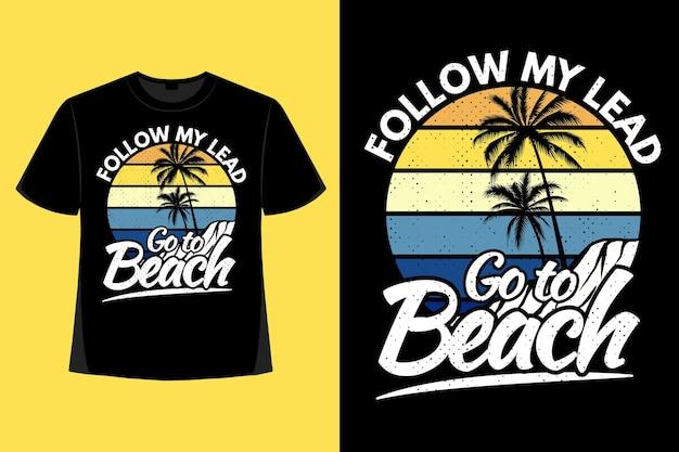 자연 해변 야자수 복고풍 빈티지 일러스트의 티셔츠 디자인