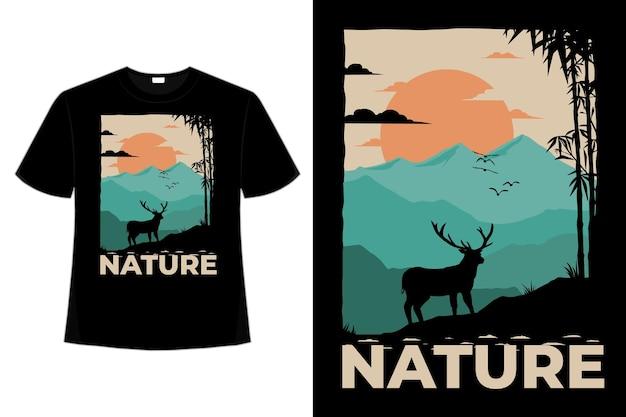 自然鹿山竹空色レトロヴィンテージイラストのtシャツデザイン