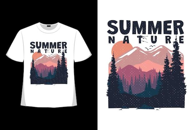 복고풍 스타일로 그린 자연 풍경 여름 손의 티셔츠 디자인