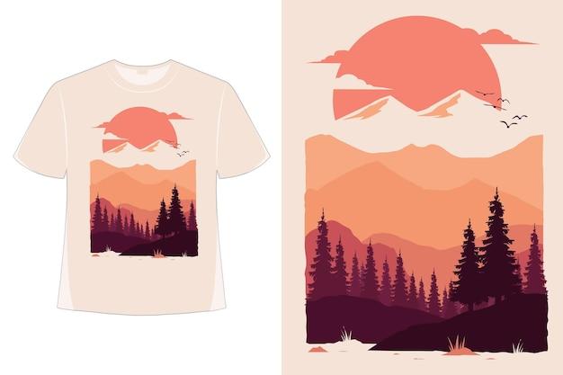 자연 산 태양 소나무 손으로 그린 스타일 복고풍 빈티지 일러스트의 티셔츠 디자인