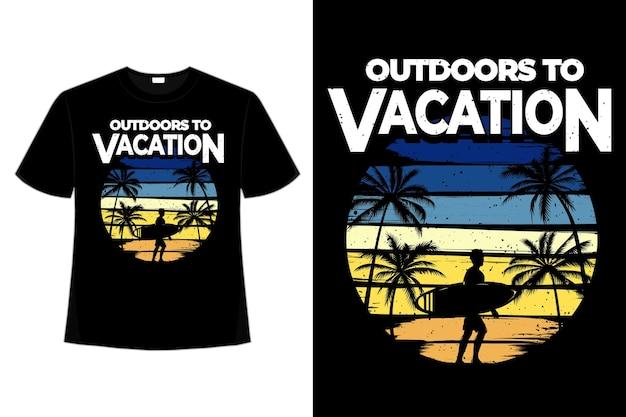 야외 휴가 서핑 여름 스타일의 복고풍 빈티지 일러스트의 티셔츠 디자인