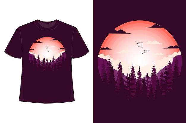 소나무 산 자연의 아름다운 평면 스타일 빈티지 스타일 일러스트의 티셔츠 디자인