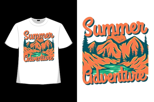 Дизайн футболки летнего приключения горного дерева сосны рисованной в стиле ретро