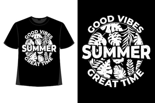 夏の良い雰囲気の葉のレトロなヴィンテージイラストのtシャツのデザイン