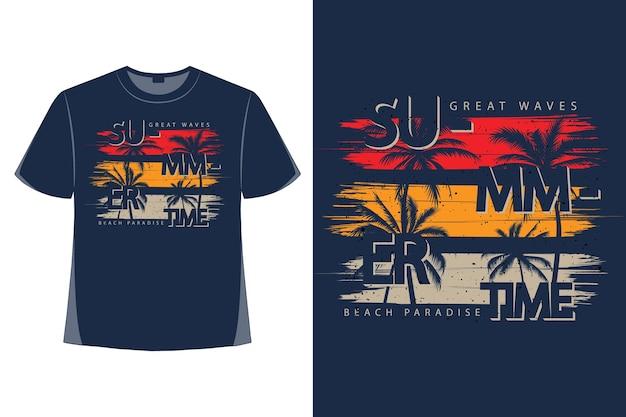 夏の大波ビーチパラダイスタイポグラフィスタイルレトロヴィンテージイラストのtシャツデザイン