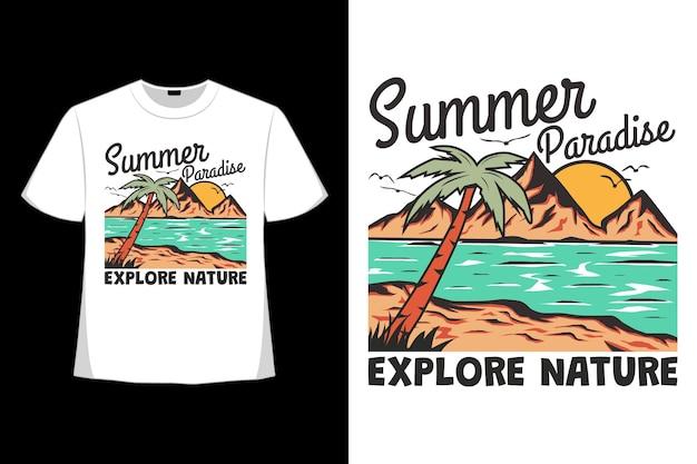 여름 낙원의 티셔츠 디자인은 복고 스타일로 그려진 자연 해변 손을 탐험