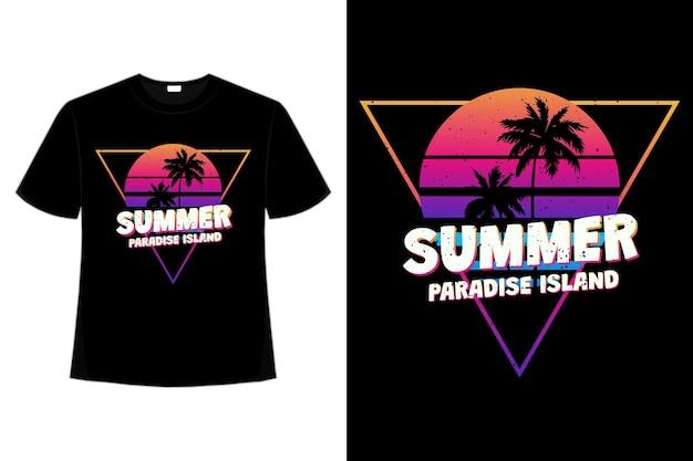 夏の楽園の島の夕日をレトロ風にデザインしたtシャツ