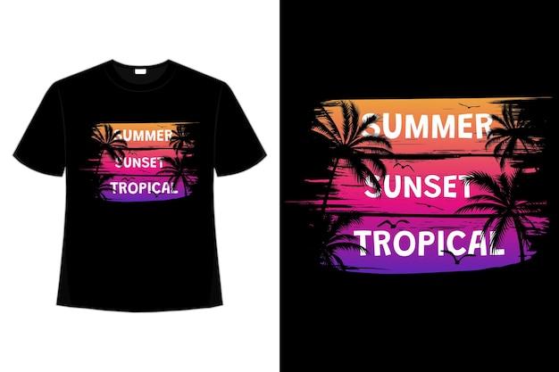 여름 일몰 열대 복고풍 빈티지 브러시 스타일의 티셔츠 디자인