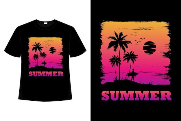レトロなスタイルで夏のサーフ夕日の美しい空の t シャツ デザイン