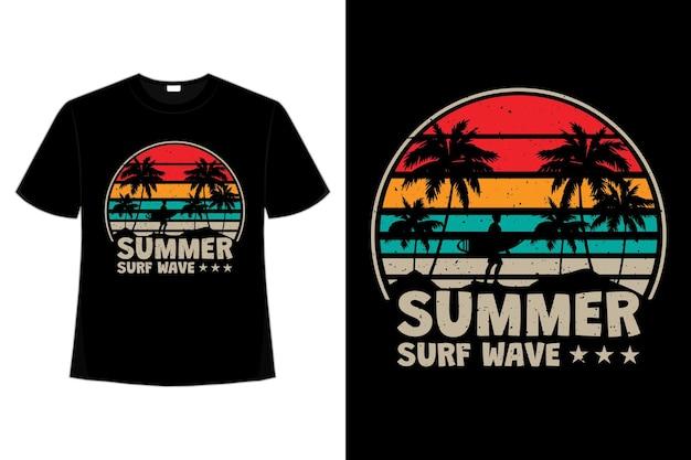 レトロなスタイルの夏のサーフ ウェーブ ビーチ ヴィンテージの t シャツ デザイン