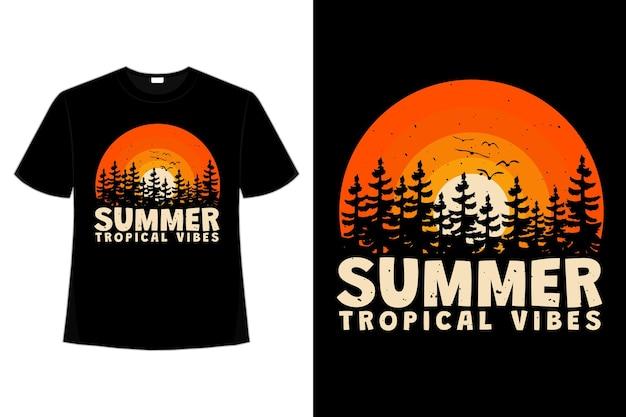 レトロなスタイルで夏のトロピカルな雰囲気の夕日の太陽の t シャツ デザイン
