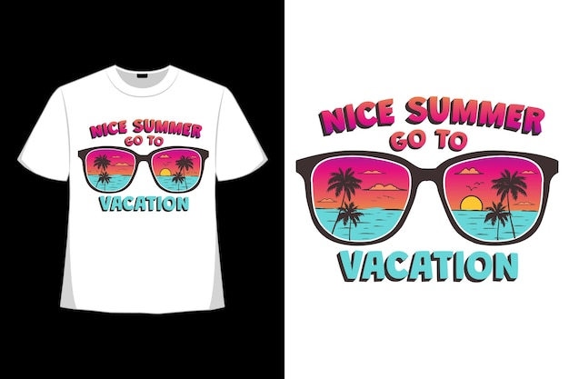 レトロなスタイルの夏休みのビーチの夕日の t シャツ デザイン