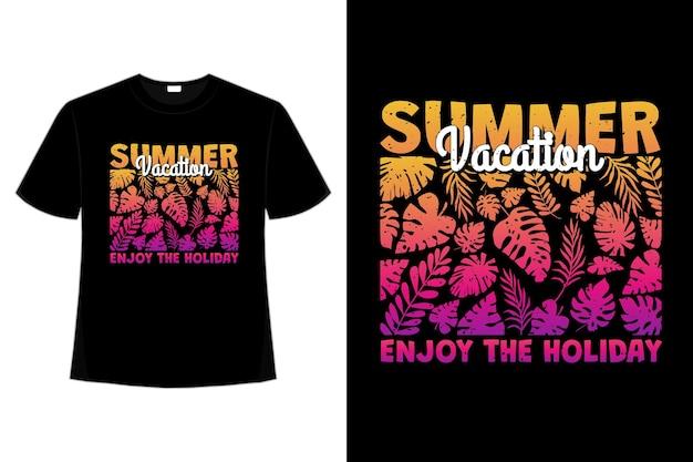 여름 휴가의 티셔츠 디자인은 복고 스타일의 휴가 잎 그라데이션 일몰을 즐길 수