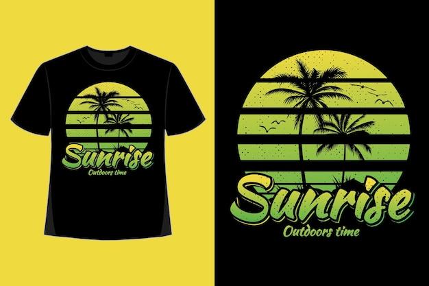 일출 야외 시간 자연 야자수 스타일의 복고풍 빈티지 일러스트레이션의 티셔츠 디자인