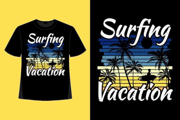 Дизайн футболки серфинга, отдыха, серфинга, пальмового стиля, ретро, винтажной иллюстрации
