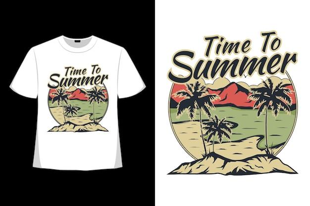 Дизайн футболки времени лето пляж рисованной в стиле ретро