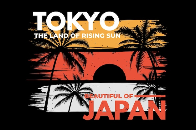 도쿄 일본 브러시 비치 레트로 빈티지 일러스트의 티셔츠 디자인
