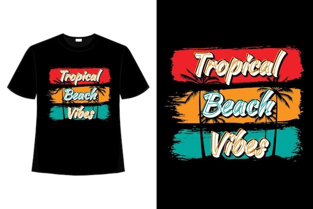 복고풍 스타일의 열대 해변 분위기 브러시의 티셔츠 디자인 프리미엄 벡터