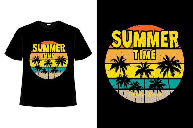 복고풍 스타일의 열대 여름 시간의 티셔츠 디자인