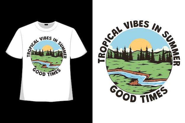 복고풍 스타일로 그려진 열대 여름 분위기 손의 티셔츠 디자인