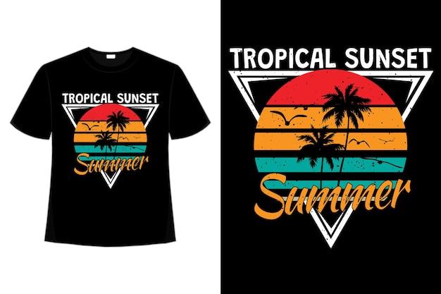 복고 스타일의 열대 일몰 여름 여름의 티셔츠 디자인