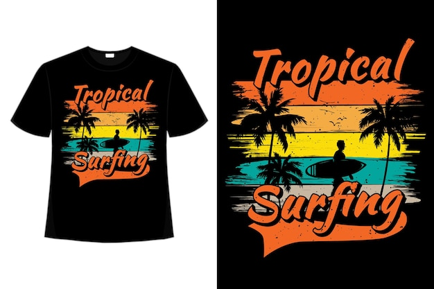 トロピカルサーフィン松の木ビーチレトロなビンテージスタイルのイラストのtシャツのデザイン