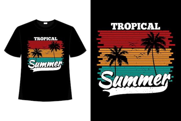 レトロなスタイルの熱帯の熱帯の夏の夕日の色のヤシの t シャツ デザイン
