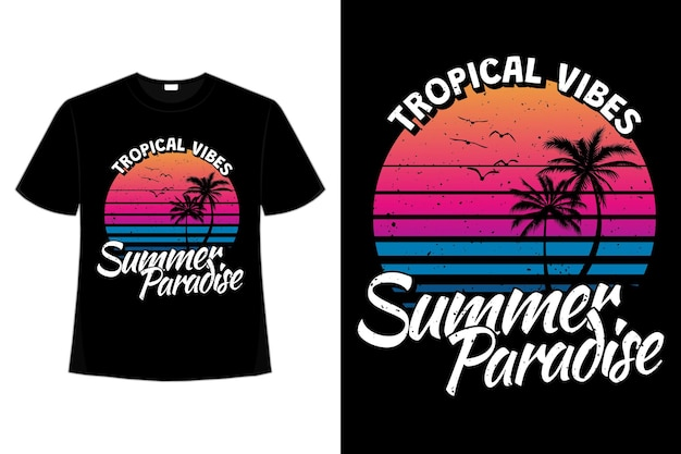 복고풍 스타일의 열대 분위기 여름 낙원의 티셔츠 디자인