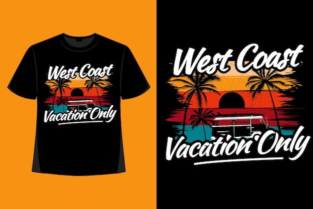 서해안 휴가 야자수 브러시 복고풍 빈티지 일러스트의 티셔츠 디자인