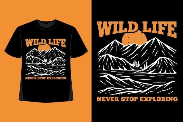 山の手描きのヴィンテージイラストを探索する野生生物のtシャツのデザイン