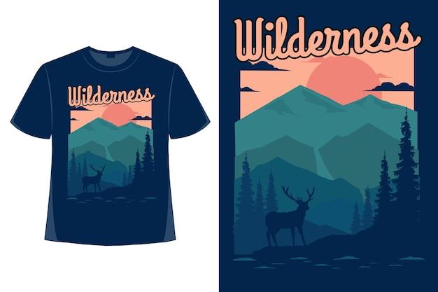 야생 자연 산 평면 손으로 그린 스타일 빈티지 그림의 티셔츠 디자인