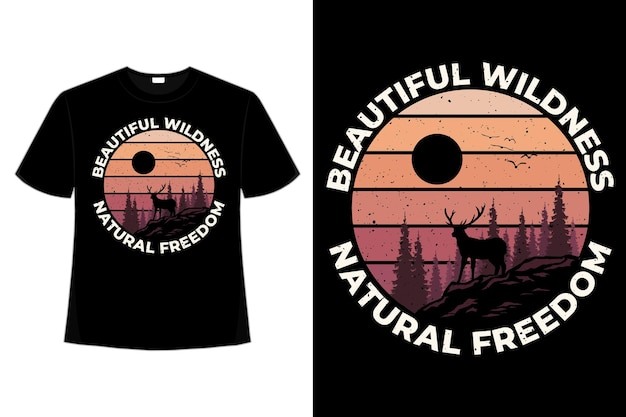 야생 자연 자유 소나무 아름다운 색상 복고풍 빈티지 스타일 일러스트의 티셔츠 디자인