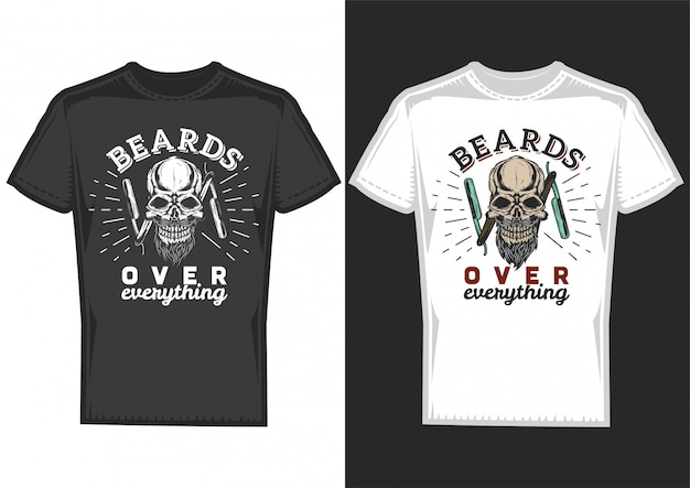Дизайн футболки на 2 футболках с постерами черепа парикмахера.